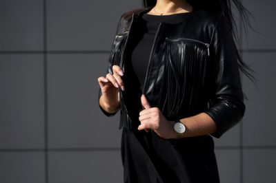 A girl wear fashion jacket